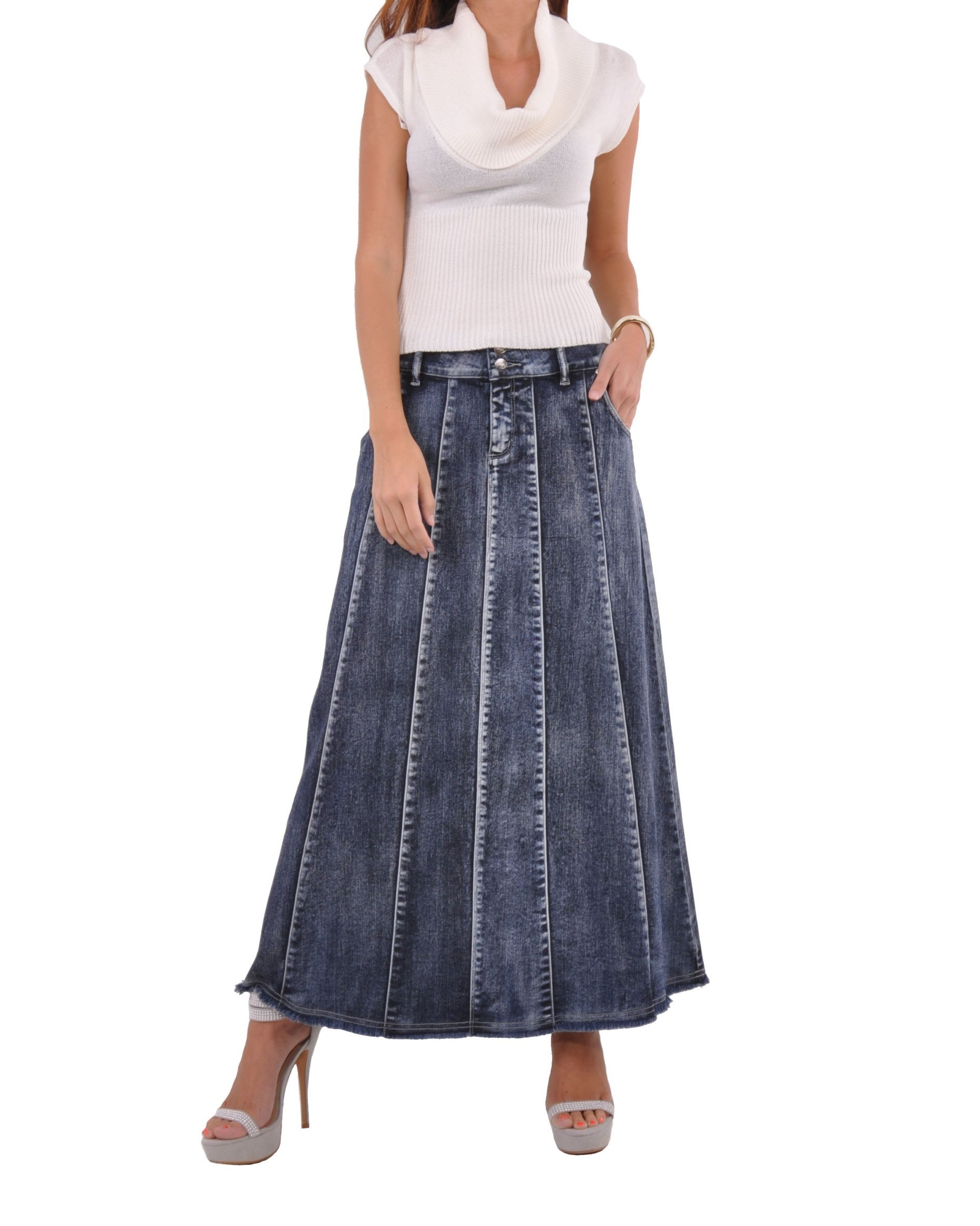 Style J Blue Waterfall Long Denim Skirt-Brushed Blue-30(10) by Style J