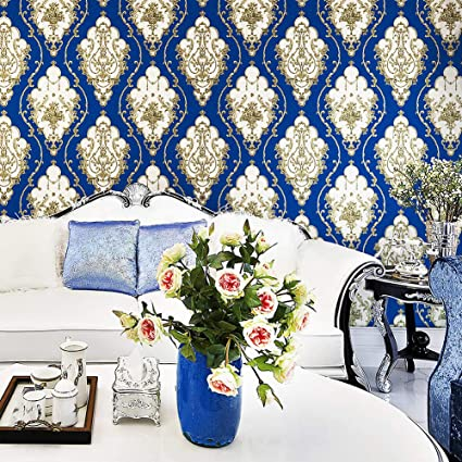 Jz25 Bluesilver Damask Wallpaper Rolls Metal Lace Texture Embossed Vinyl Wallpaper Bedroom Living Room Hotel Wall Decoration 208x 31ft