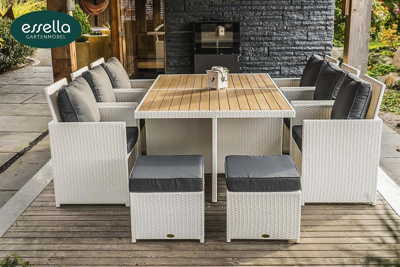 polyrattan sitzgruppe vienna 6 personen polywood flachgeflecht weiss gartenm bel. Black Bedroom Furniture Sets. Home Design Ideas