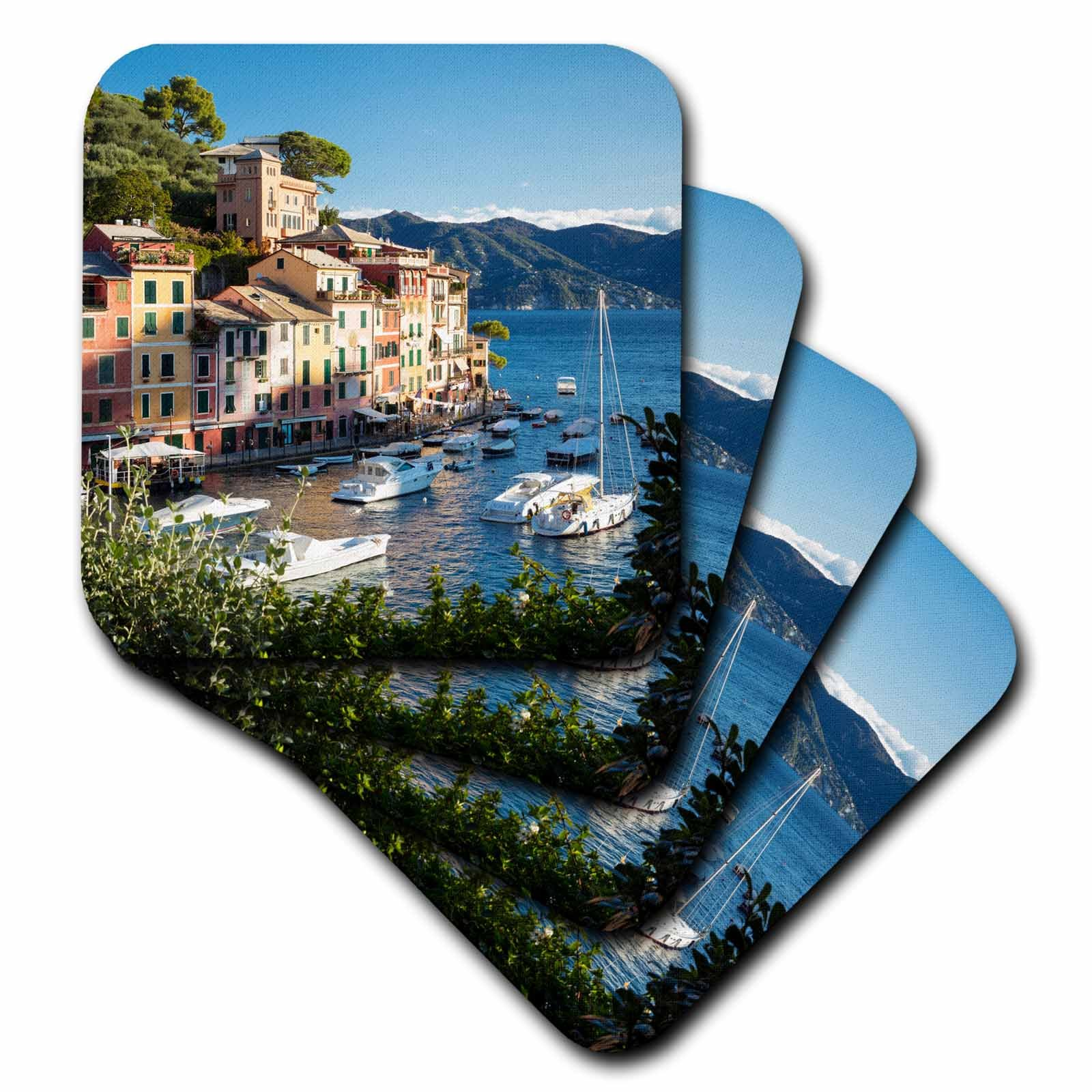 3dRose Danita Delimont - Italy - Looking out over the harbor town of Portofino, Liguria, Italy - set of 4 Coasters - Soft (cst_277565_1)