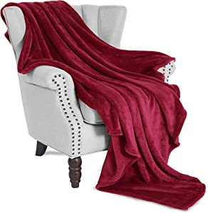 "Exclusivo Mezcla Flannel Fleece Velvet Plush Soft Throw Blanket – 50"" x 60"" (Burgundy Red)"