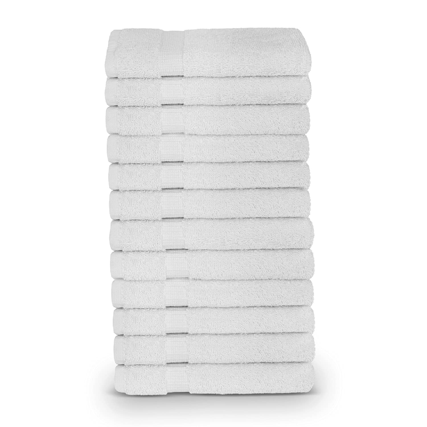 12-Piece Turkish Cotton Dobby Border Eco Friendly Face Towel/Washcloths Set by Turkuoise Turkish Towel (White) TURKUOISE TURKISH TOWEL TRK-WSH-DB-12PCK-FBA-WHT