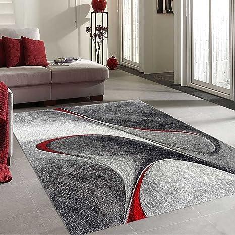 UNAMOURDETAPIS Tapis Salon Moderne et Design madila Rouge, Gris, Noir 120 x  170 cm