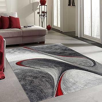 Unamourdetapis Tapis Salon Moderne et Design madila Rouge, Gris ...