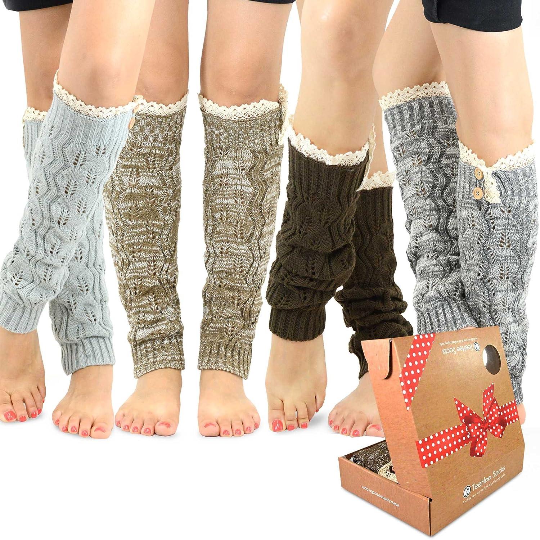 TeeHee Gift Box Women's Fashion Leg Warmers 4-Pack Assorted Colors Soxnet Inc