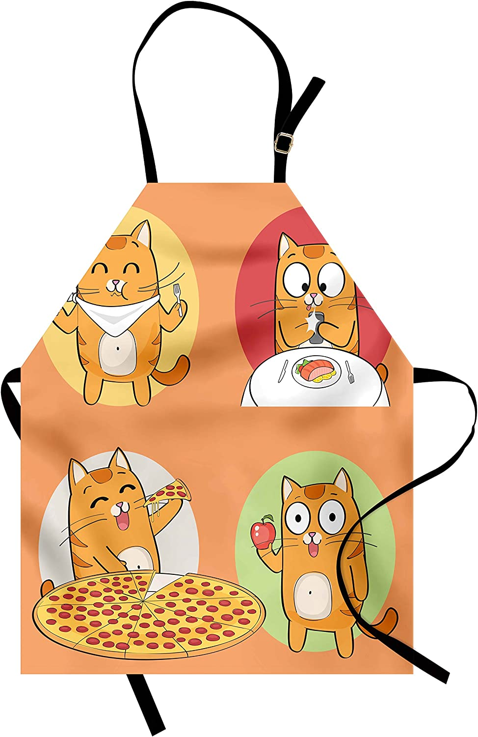 Lunarable Cat Apron, Characters Food Fork Breakfast Pizza Apple Cartoon Design, Unisex Kitchen Bib with Adjustable Neck for Cooking Gardening, Adult Size, Pistachio Green