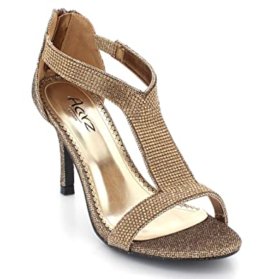 6d0234471224 AARZ LONDON Womens Ladies Crystal Diamante Evening Wedding Party Bridal Prom  Mid High Heel Brown Sandals Shoes Size UK 3  Amazon.co.uk  Shoes   Bags