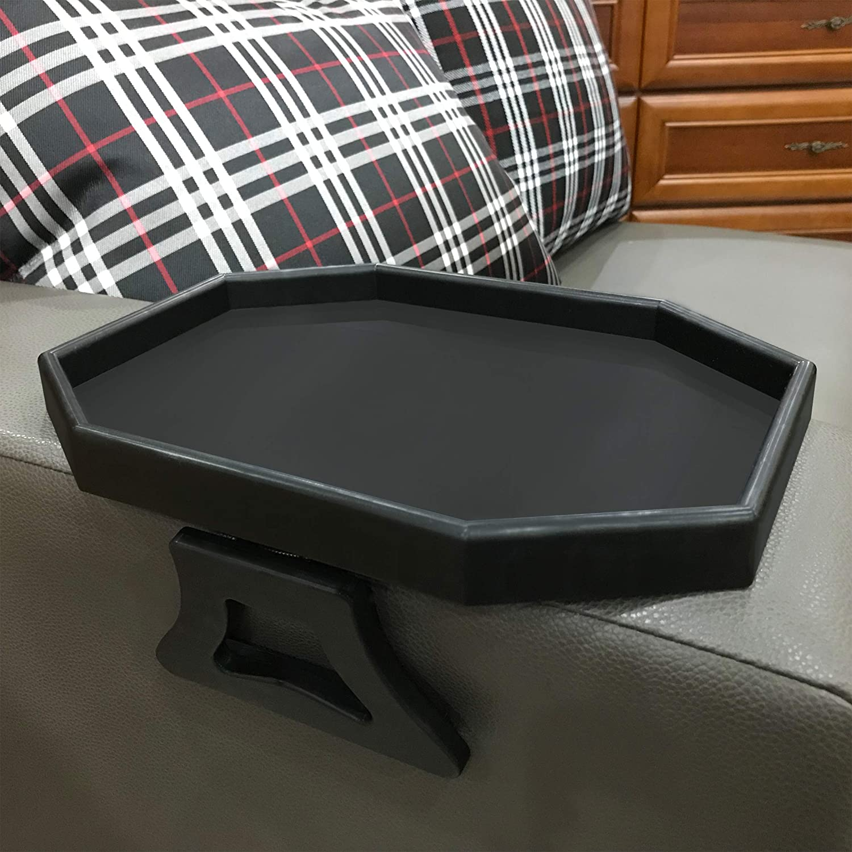 Forzaddik Side tables Sofa Armrest Clip-On Table, Recliner Armchair Organizer Tray (Black)