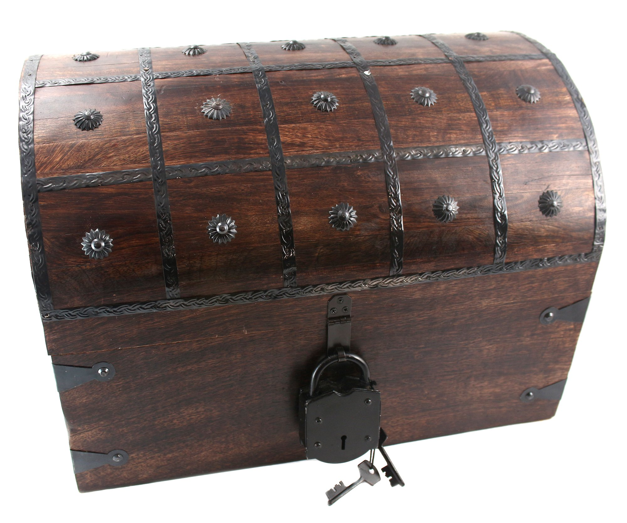 WellPackBox Wooden Pirate Treasure Chest Box With Antique Style Lock And Skeleton Key (Giant)