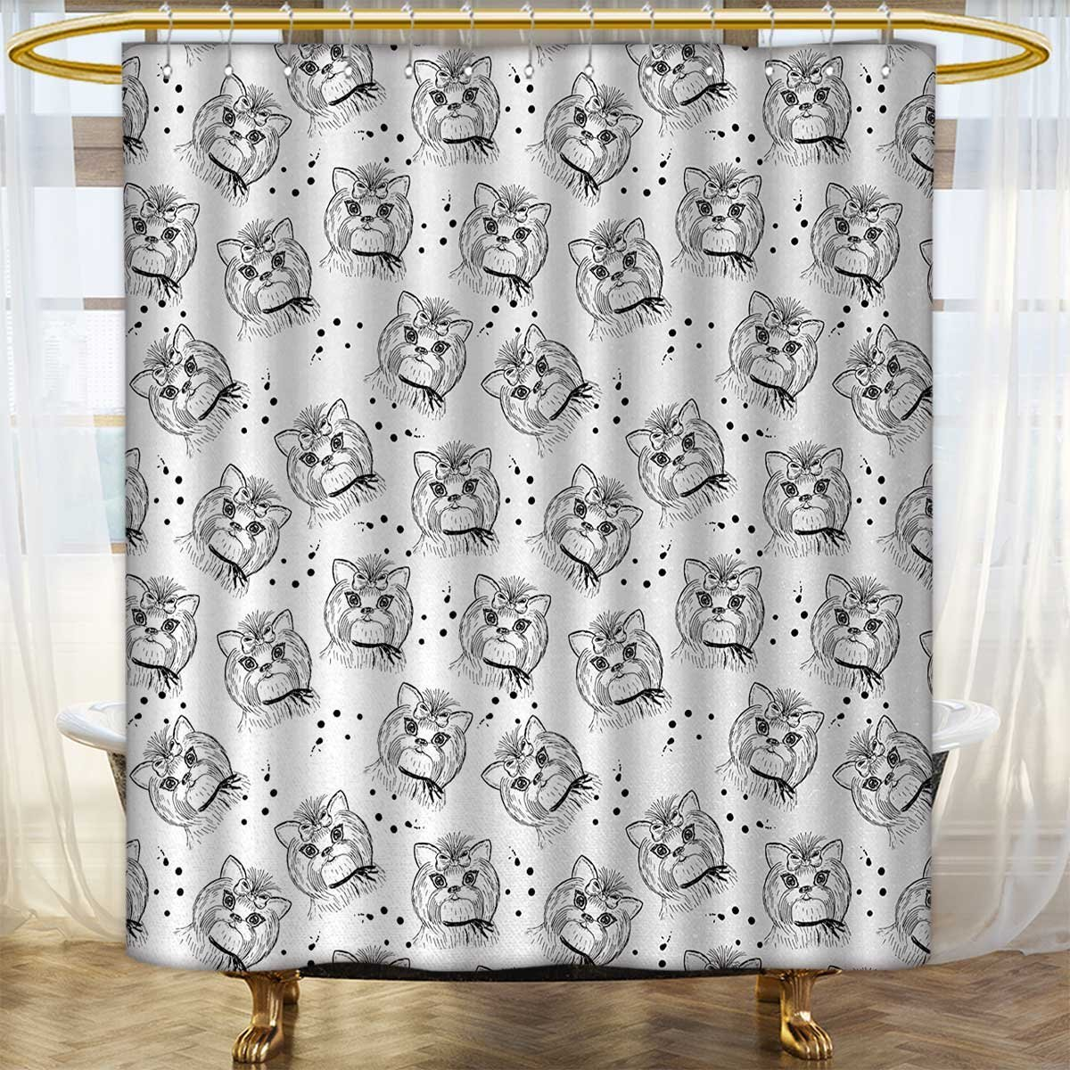 color13 36 x 84 (inch) color13 36 x 84 (inch) Anhounine Black and White Shower Curtains 3D Digital Printing Cute Dog Pattern with Buckle and Collar Monochrome House Pet Illustration Satin Fabric Bathroom Washable 36 x84  Black White