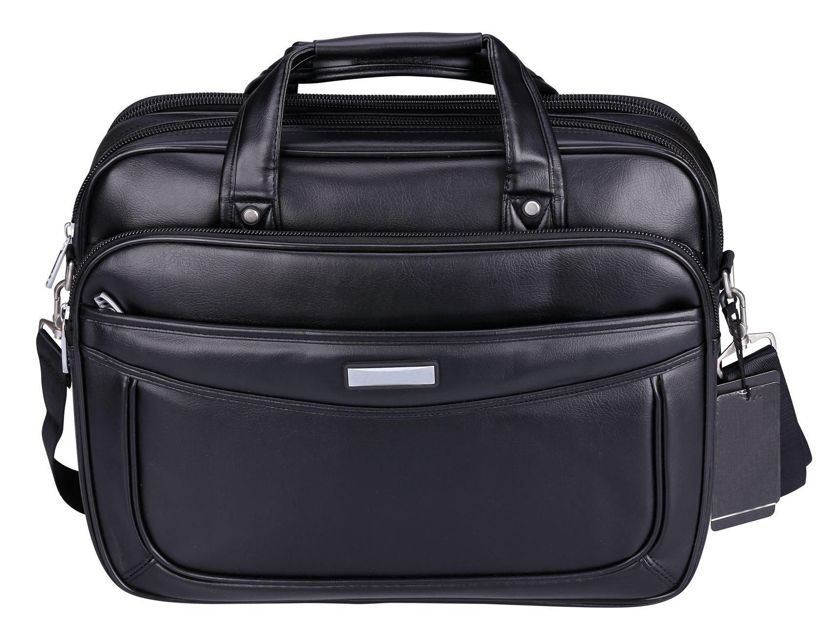 VIDENG Leather Business Briefcase,Extended 15.6 inch Laptop Bag,Large Capacity Shoulder Bags Travel Handbag for Mens and Womens (Black-M1)