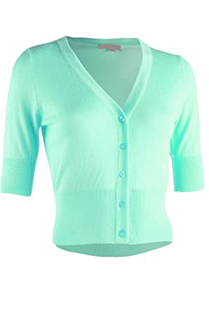 bcca93404b ViiViiKay Women Solid Basic Essential Comfy Versatile Bolero Shrug Knit  Cardigan 65  Mint S