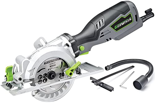 Genesis GCS545C 5.8 Amp 120 Volt 4-1 2 in. Control Grip Compact Circular Saw with Vacuum Adapter, Blade Wrench, and 24T Carbide Tipped Blade