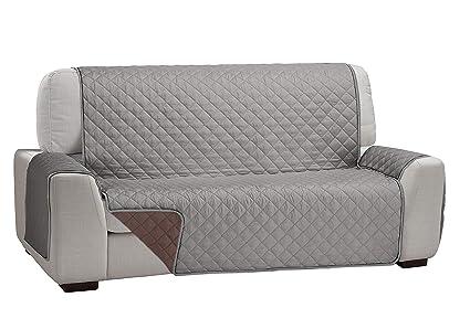 Martina Home Martina Dual Cover Cubre Sofá Acolchado Reversible, Gris/Marrón, 2 Plazas