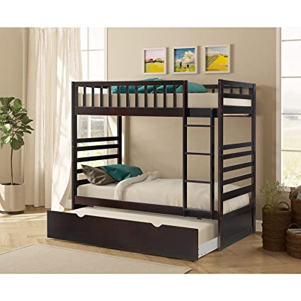 Amazon.com: Merax Twin Over Twin Bunk Bed with Trundle in Espresso