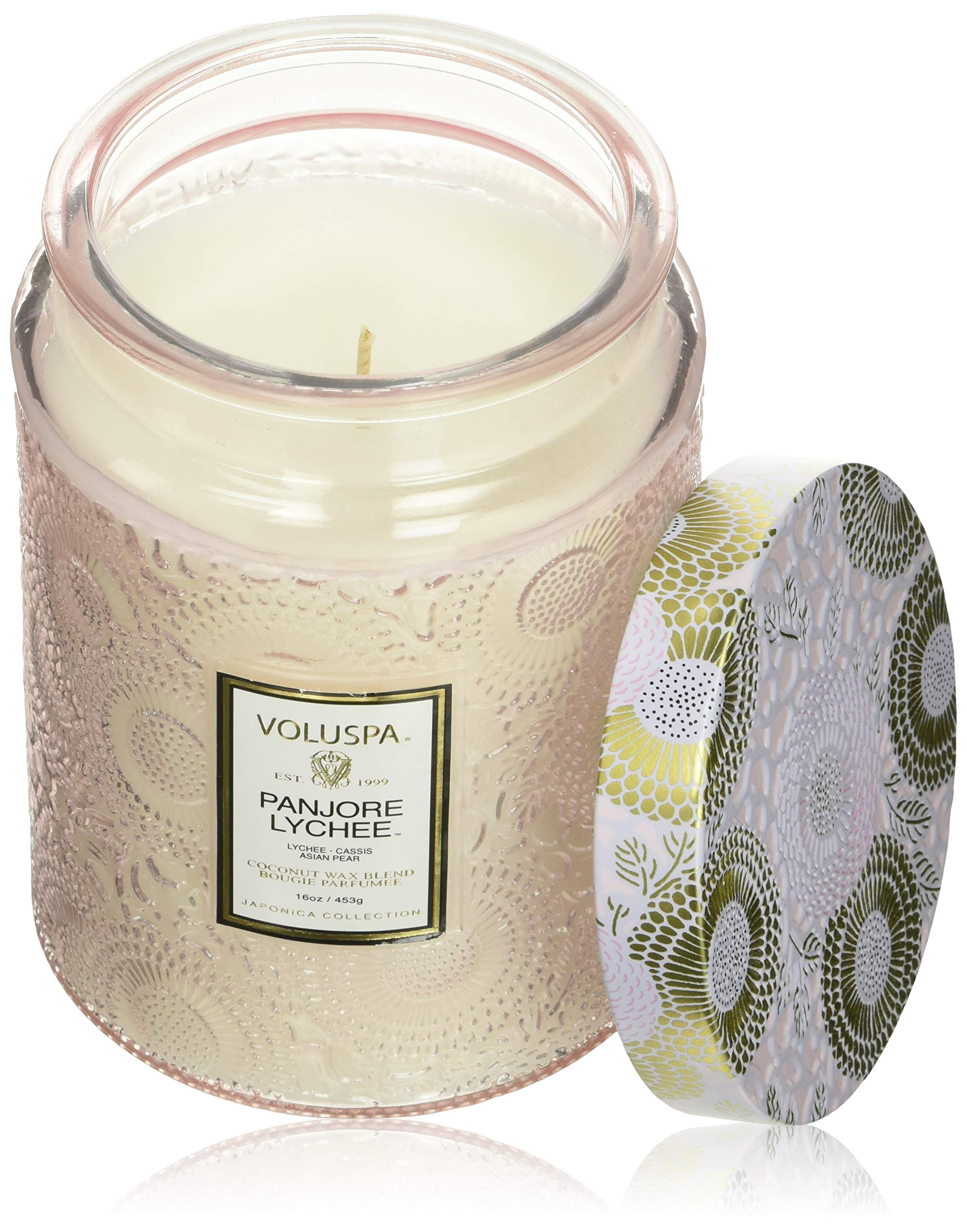 Voluspa Panjore Lychee Large Embossed Glass Jar Candle, 16 Ounces by Voluspa