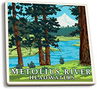 product image for Metolius River Headwaters, Oregon (Set of 4 Ceramic Coasters - Cork-Backed, Absorbent)