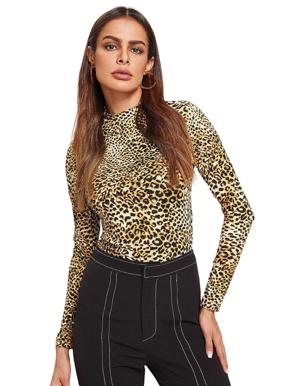 DIDK Mujer Camisetas Mangas Largas Ajustados Leopardo con Cuello Alto