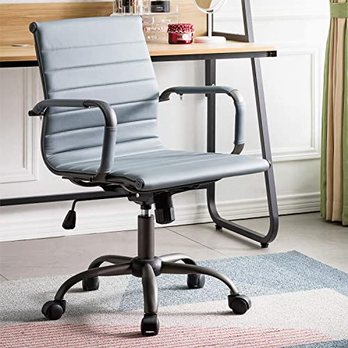 OVIOS Ergonomic Office Chair,Leather Computer Chair for Home Office or Conference.Mid Back Swivel Desk Chair with Arms 1, Grey