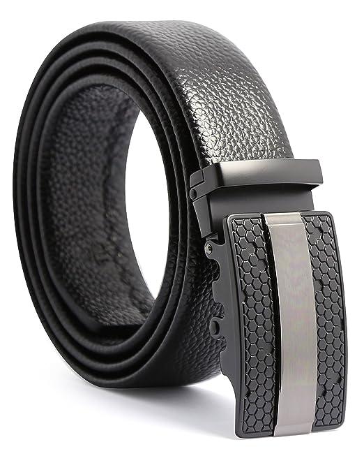 MINHER Cinturón Para Hombres de Cuero Piel con Hebilla Automática de Aleación Negro 115 cm 125 cm XtI91
