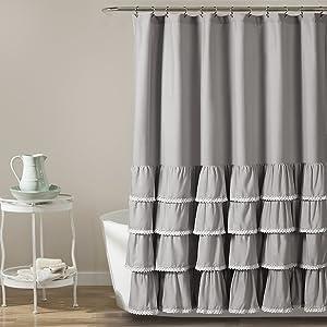 Lush Decor Ella Lace Ruffle Shower Curtain, 72