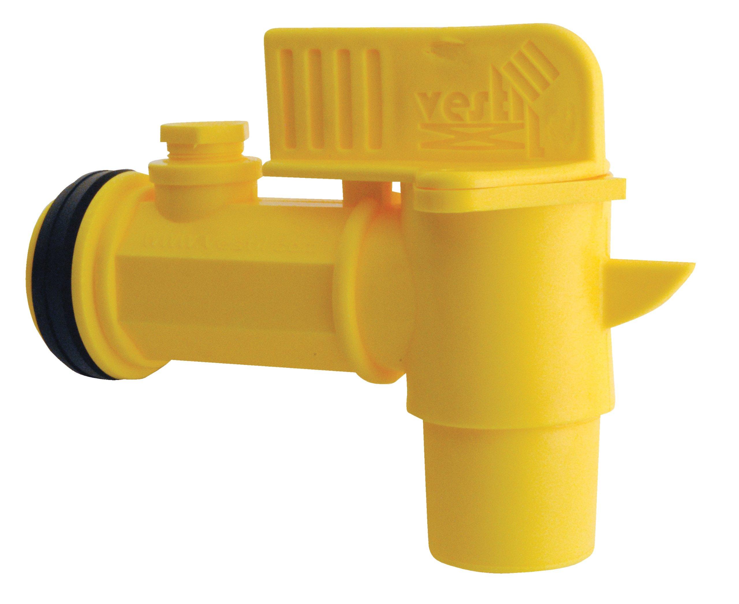 Vestil JDFT Plastic Manual Handle Jumbo Drum Faucet, Fits 2'' Drum Openings