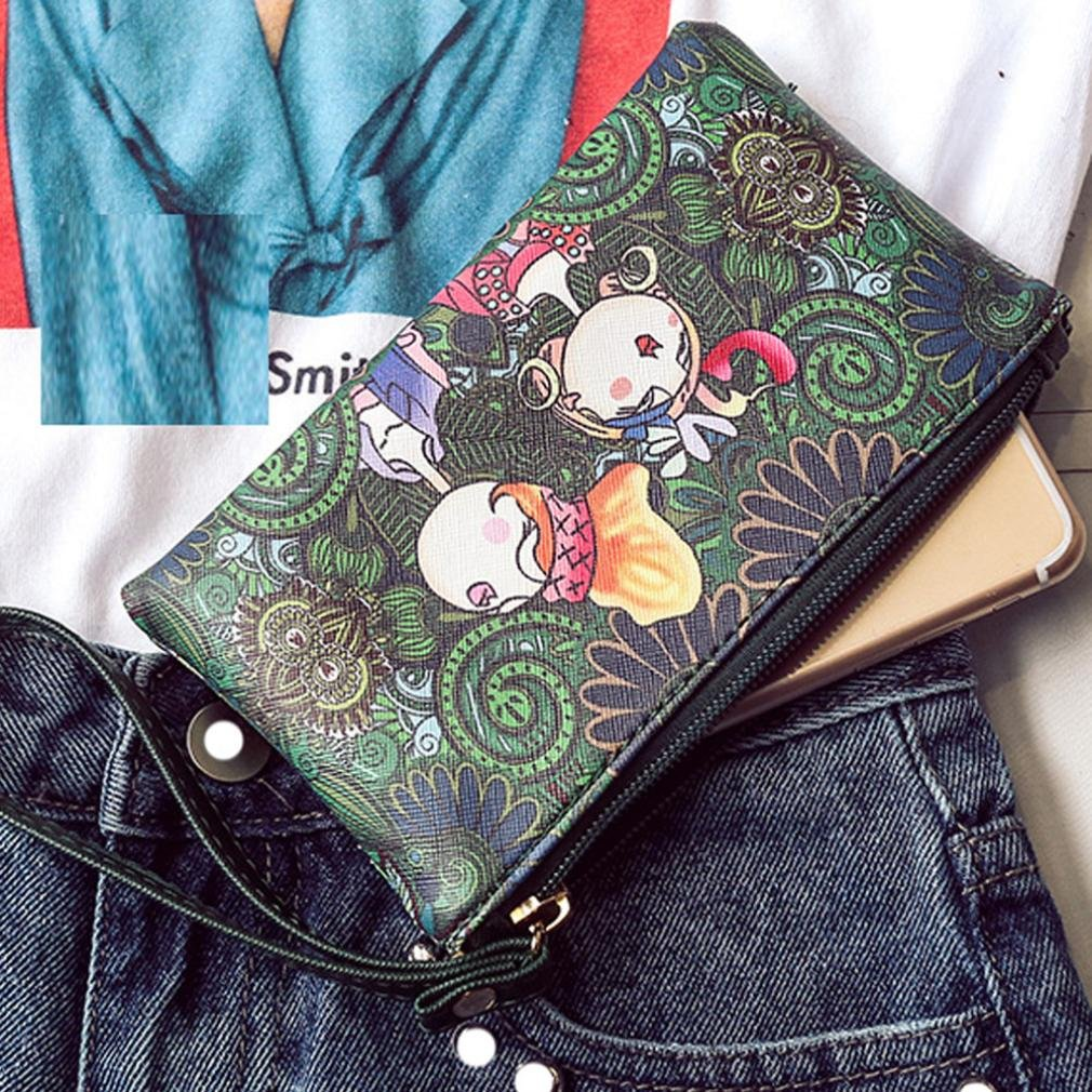 ALIKEEY 2018 ♈ Ocio Forest Girls Pattern Printing Cremallera Rectangular Small-Change Wallet L14 Casual Girl Totem RectáNgulo Cremallera Monedero Madera ...