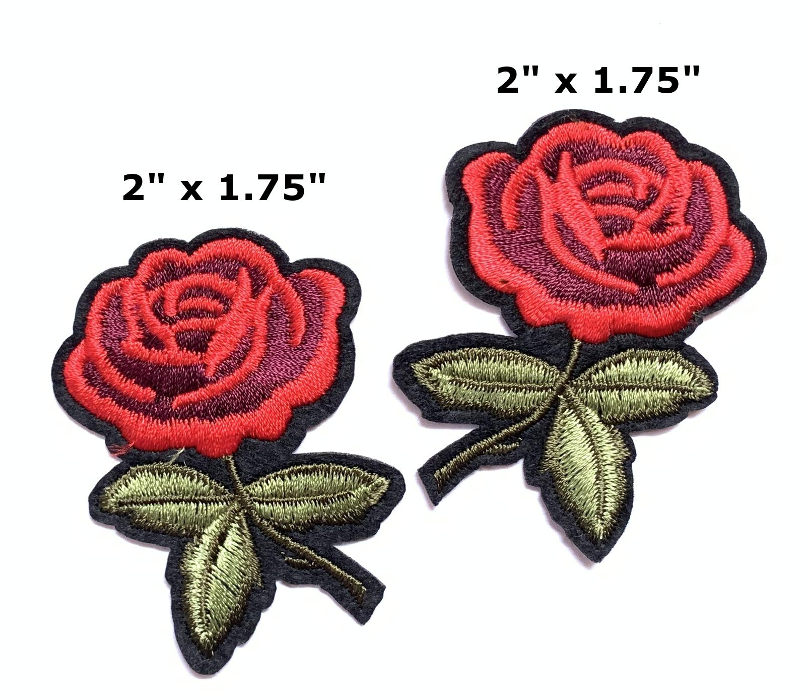 Iron on Patches#33, Red Lips Sequin with 2 Pieces of Rose Flower Embroidered Patches, DIY Badge Patches Clothing Backpacks Jeans T-Shirt Caps Cute Patch by BossBee