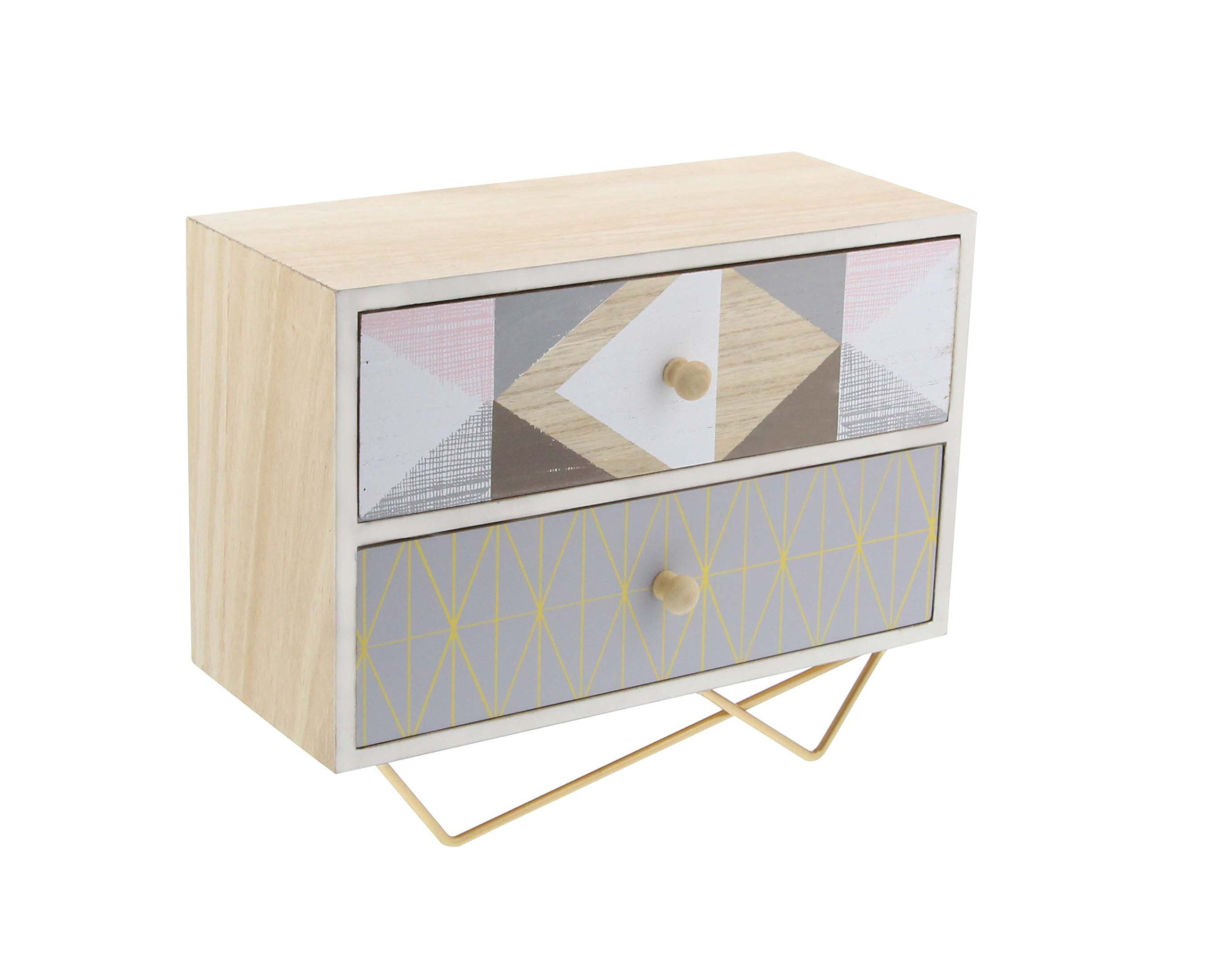 Deco 79 85268 Two-Drawer Jewelry Chest with Iron Rod Stand, 9'', Lightbrown/Gray/White/Gold/Brown