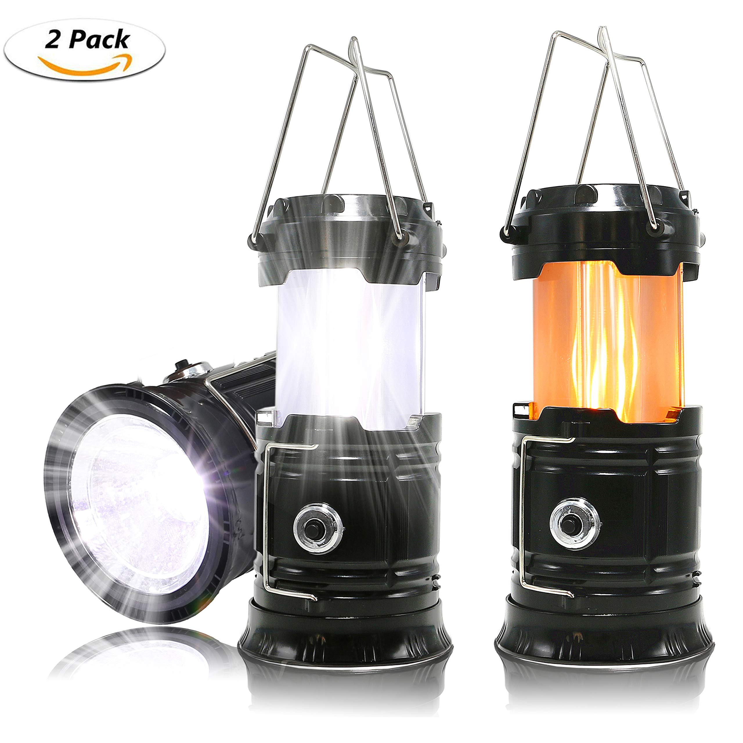 HLZHOU 2 Pack Portable LED Camping Lantern, [2018 UPGRADED][3-IN-1] Decorative Flame light Ultra Bright Flashlights Collapsible Survival Kit for Emergence, Outdoor Black (Batteries Not included)