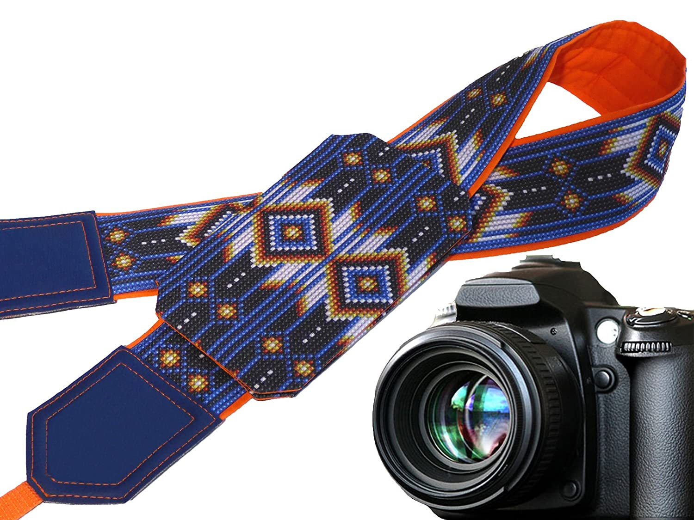 Indianカメラストラップwithポケット。Ethnicカメラストラップ。Inspired byネイティブAmericansカメラストラップ。イエロー。ブルー。明るい。Holiday gifts.コード00332 B01NAH0KJB