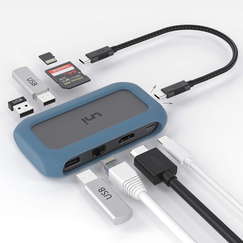 uni Hub USB C 8 en 1, USB C Hub con un Conector extraíble y Funda de Silicona, admite Carga de 100 W, 4K HDMI y más, Compatible con iPad Pro 2018, MacBook, Galaxy S20, Huawei P40, Mate 30 y más