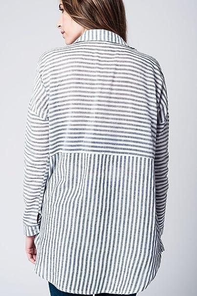 Q2 Mujer Camisa con Rayas Negras Verticales y bajo Asimetrico - S: Amazon.es: Ropa y accesorios
