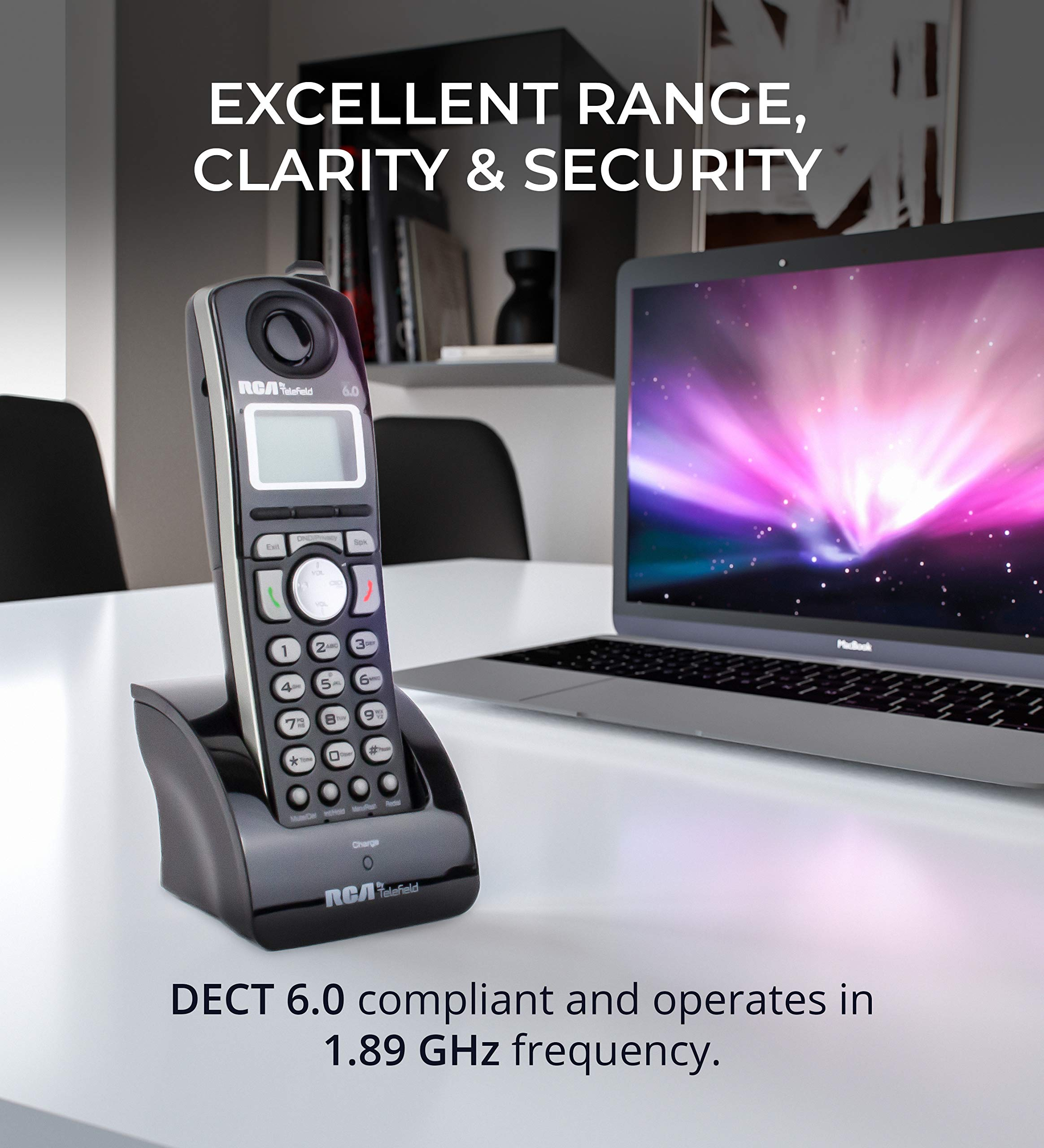 RCA 25260 2-Line Expandable Phone System - Full Duplex Telephone with Built-in Intercom Bundle with RCA 25055RE1 DECT 6.0 Cordless Accessory Handsets (3-Pack) and 6 Blucoil AA Batteries by blucoil (Image #7)