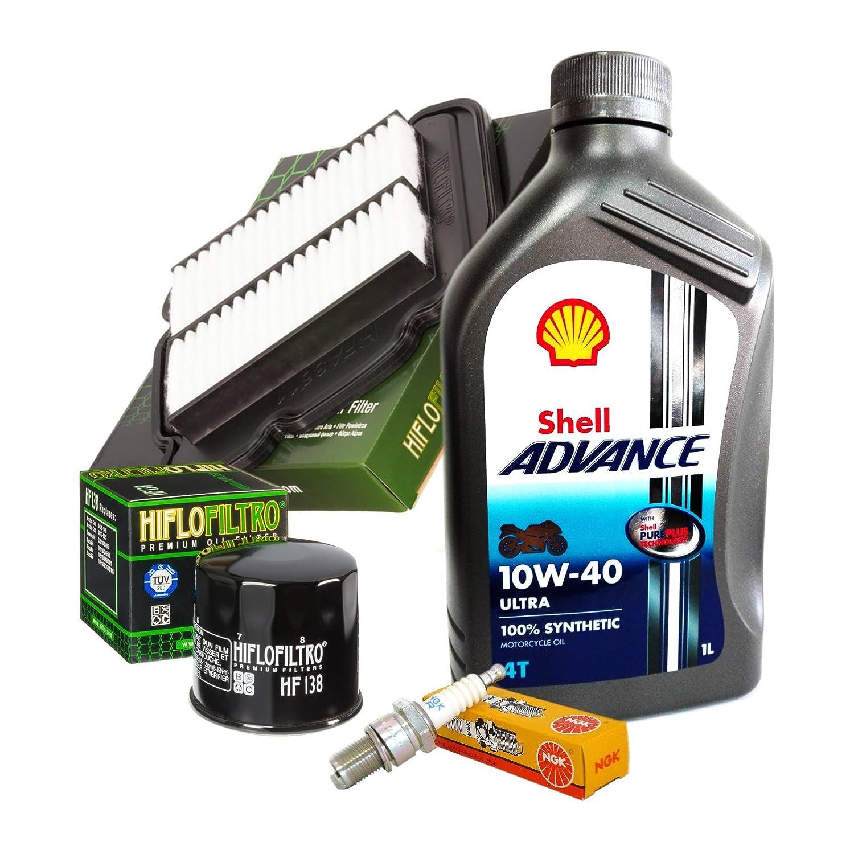 Tecneco Kit Shell Ultra 10 W40 Filtre huile Air bougies Suzuki V-Strom 650 Motocar