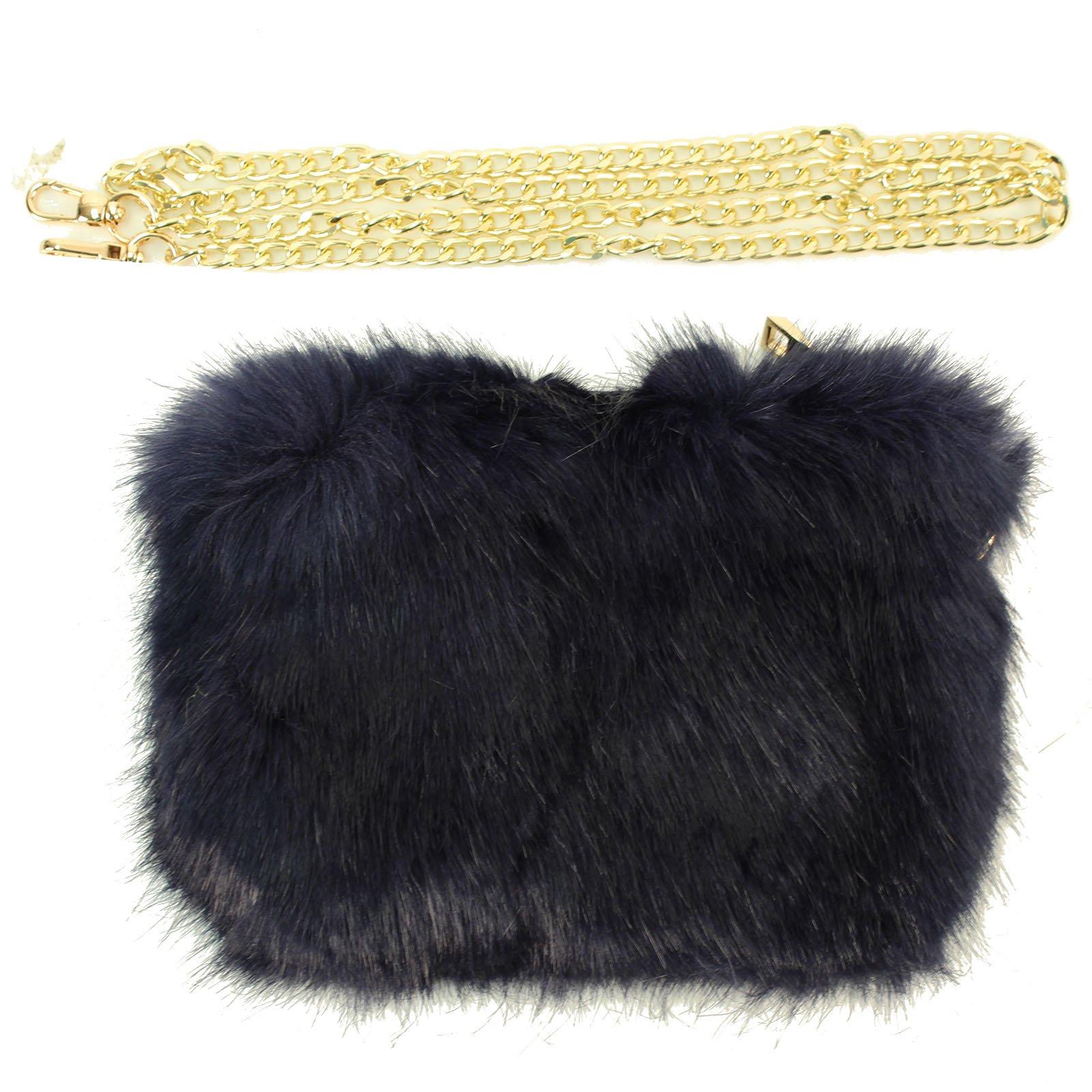 Winter CC Faux Fur Furry Crossbody Shoulder Handbag Wristlet Clutch Purse Navy (801)