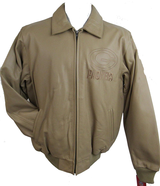 G-III グリーンベイパッカーズ メンズ ラージ タンフルジップ 刺繍レザージャケット