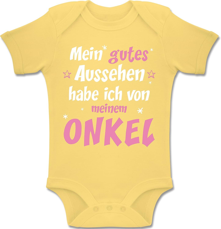 Shirtracer Spr/üche Baby Baby Body Kurzarm f/ür Jungen und M/ädchen Mein gutes Aussehen Onkel M/ädchen