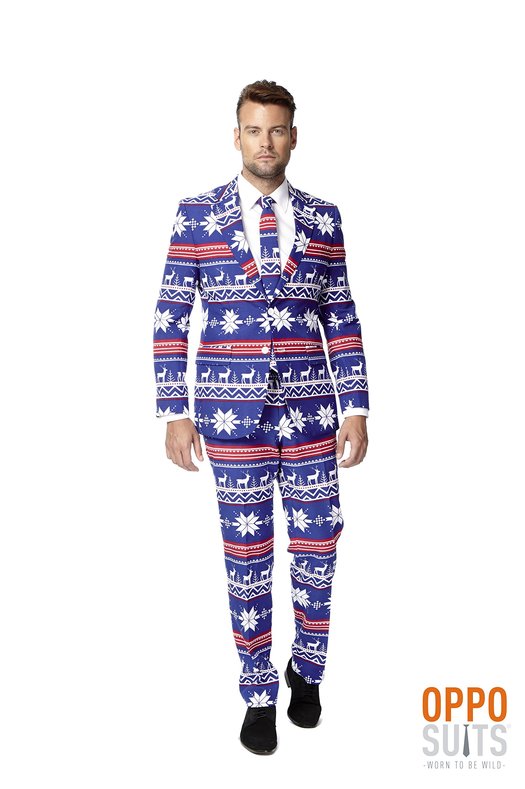 OppoSuits Men's The Rudolpoh Party Costume Suit, Blue/White/Red, 50 by Opposuits