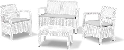 Keter - Conjunto de jardin de 4 plazas Tarifa Lounge con cojines incluidos, Color blanco: Amazon.es: Jardín