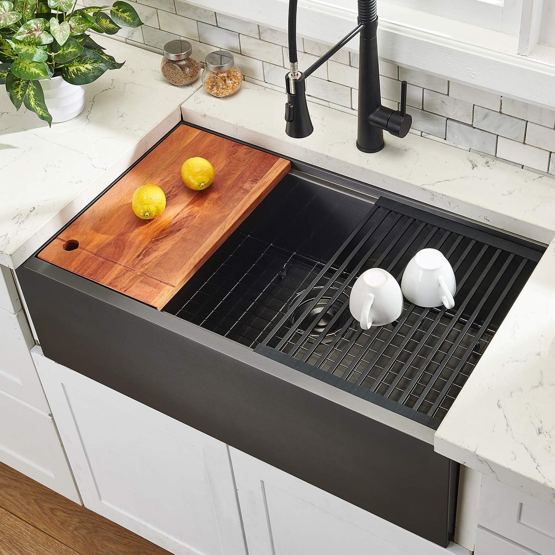 33 Workstation Drop In Farmhouse Black Stainless Steel Ledge Kitchen Sink Undermount Kitchen Sink Single Bowl With Accessories By Hotis