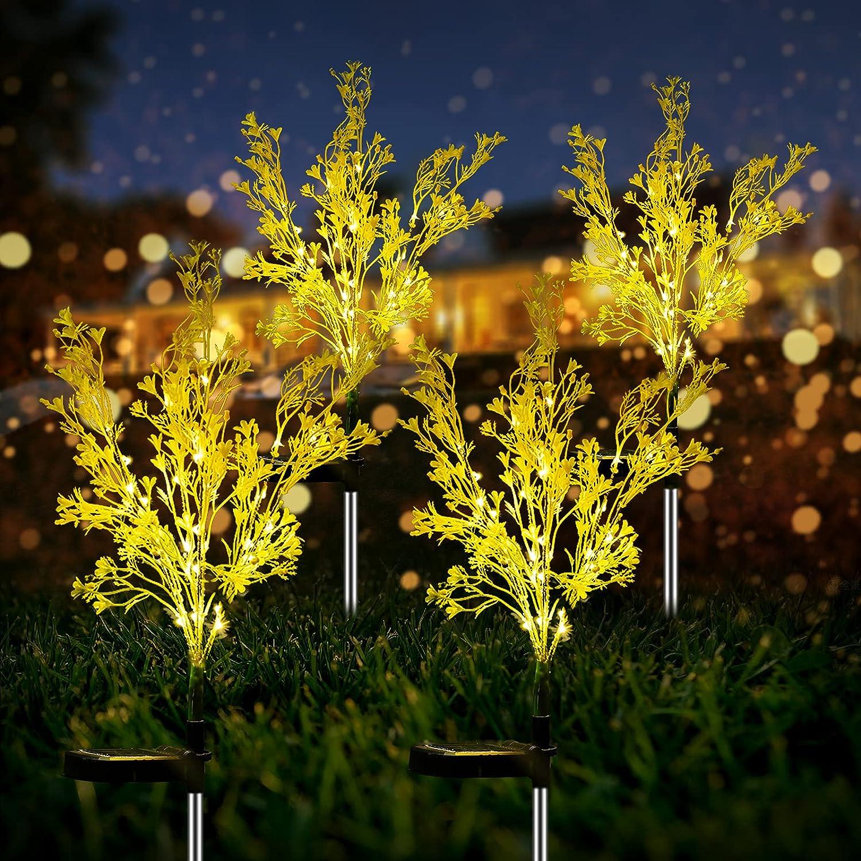 Garden Solar Lights Decorative 4 Pack, Solar Flowers Rape Flower Design, Solar Powered Flowers Light Dusk to Dawn, Solar Flowers Lights Outdoor Garden Waterproof IP65 for Garden Yard Decoration.