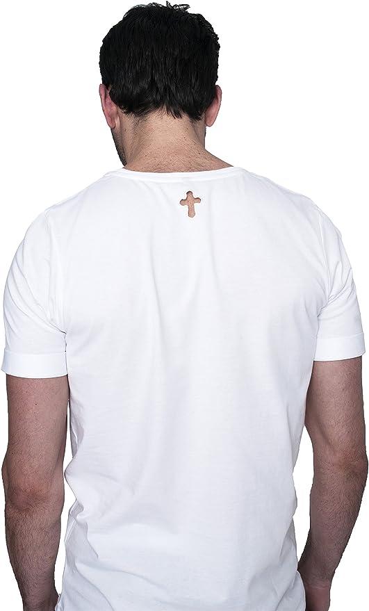 LA SAL Camiseta Blanca Hombre - Camiseta Basic Troquelado Cruz - Talla M Style: Amazon.es: Ropa y accesorios