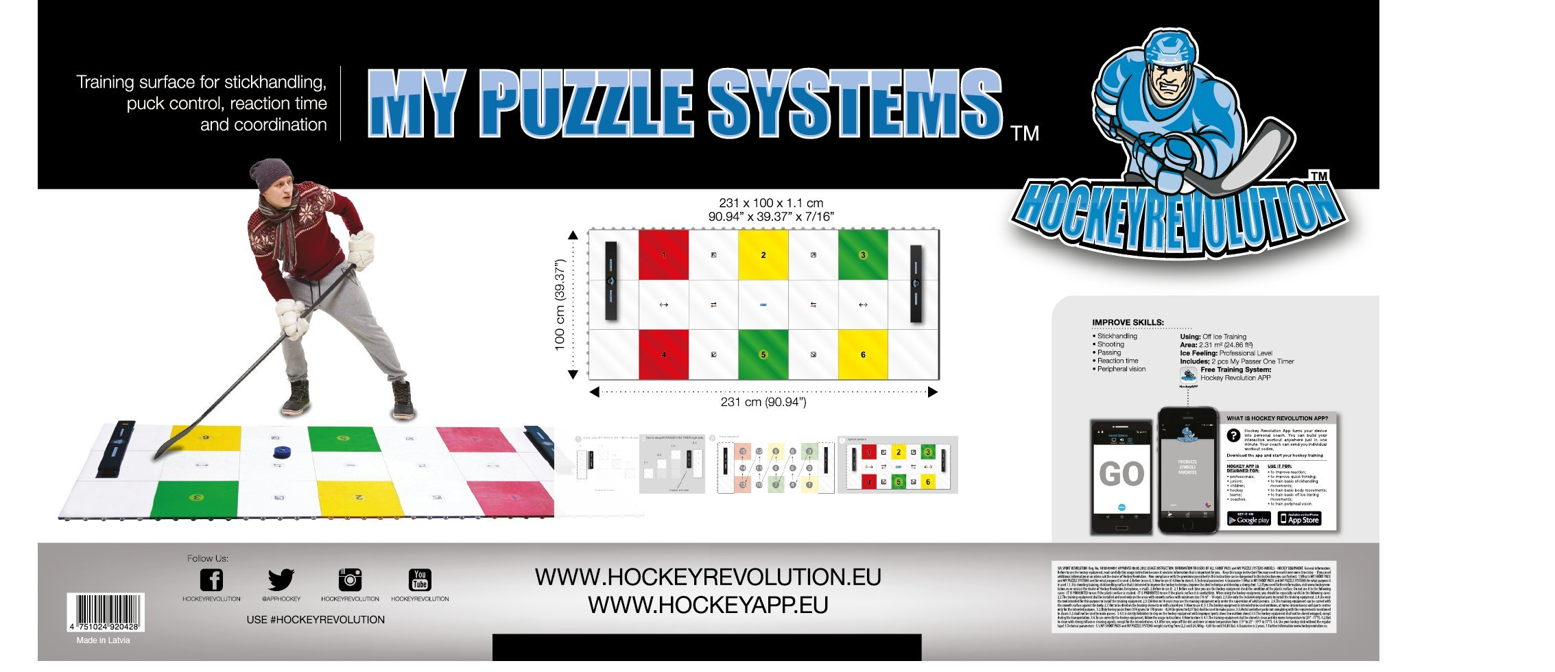 Hockey Revolution Professional Training Flooring Tile - MY PUZZLE SYSTEMS by Hockey Revolution (Image #3)