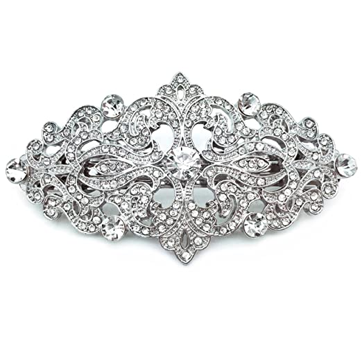 Victorian Jewelry: Rings, Earrings, Necklaces, Hair Jewelry Sparkly Bride Ornate Victorian Wedding Accessory Rhodium Plated Crystal Hair Barrette 3.25 inches $22.99 AT vintagedancer.com