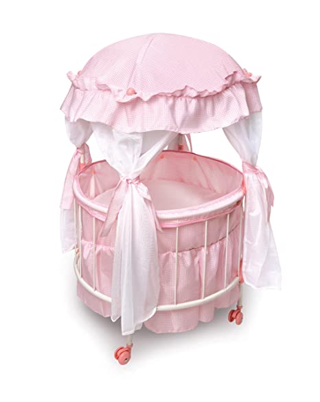 Badger Basket Royal Pavilion Round Doll Crib With Canopy And Bedding (fits  American Girl Dolls