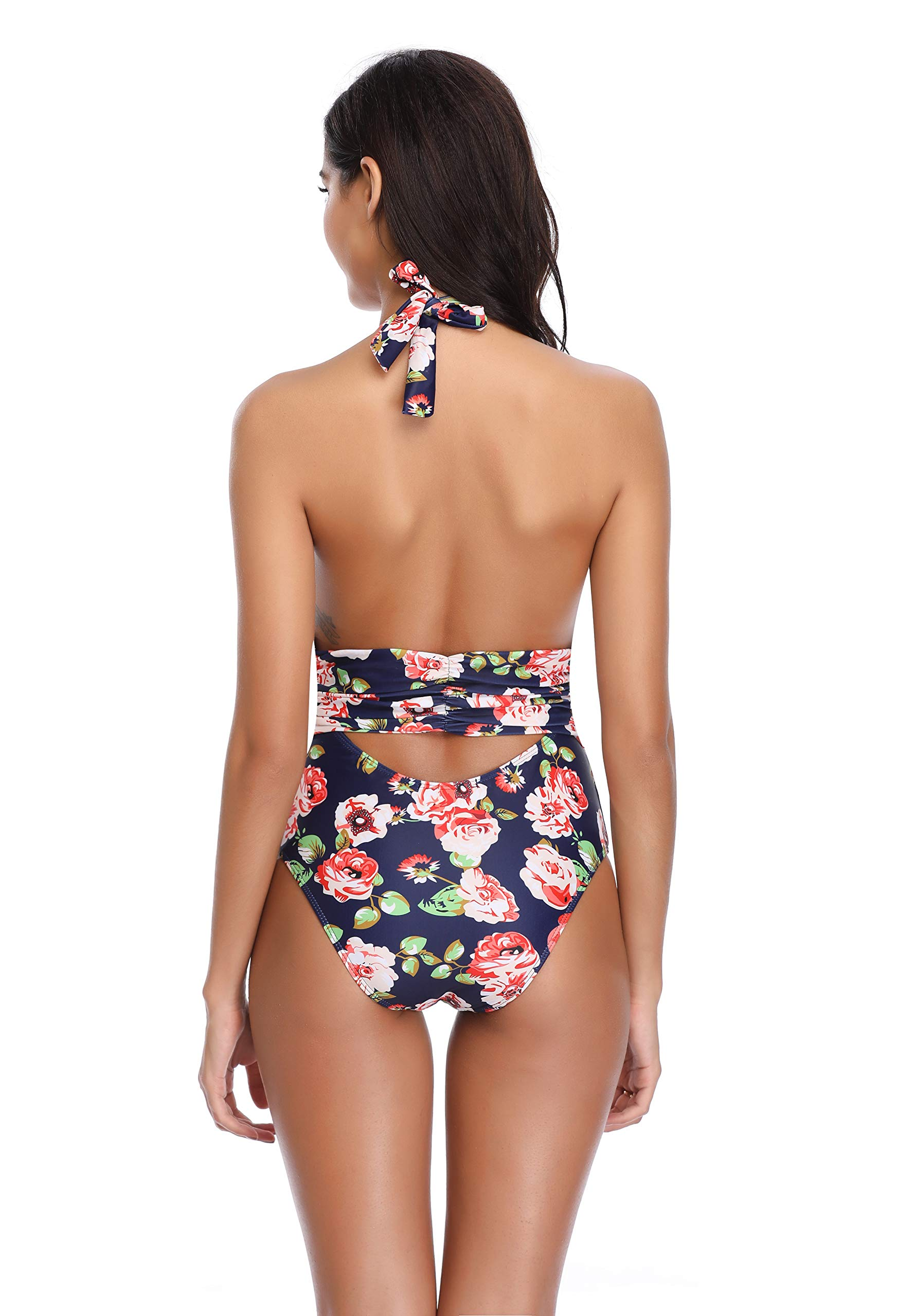 MarinaVida Women V Neck One Piece Swimsuit Halter Bathing Suits
