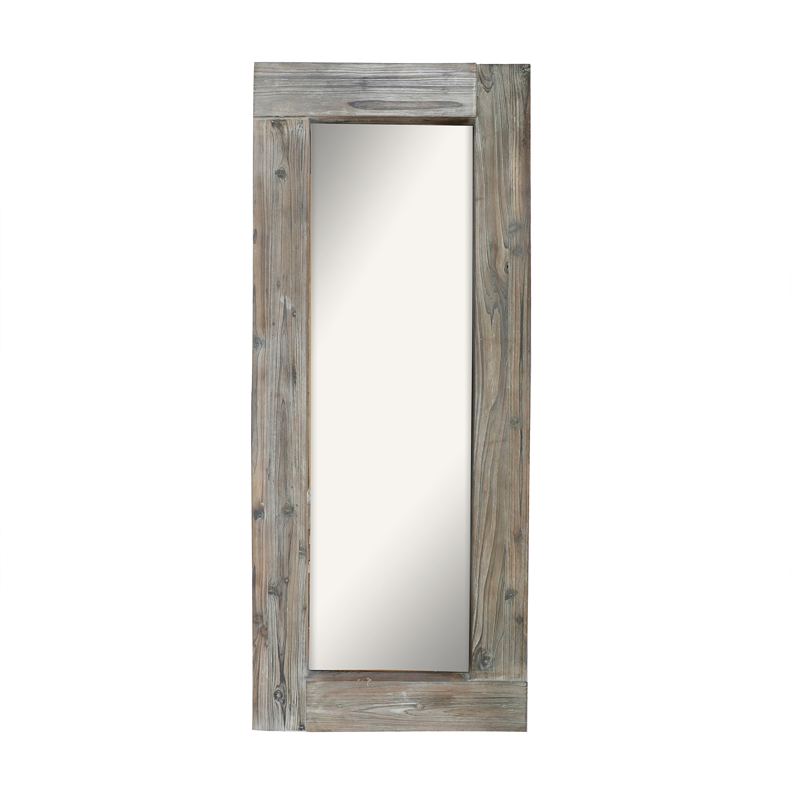 Barnyard Designs Long Decorative Wall Mirror, Rustic Distressed Unfinished Wood Frame, Vertical and Horizontal Hanging Mirror Wall Decor 58'' x 24''