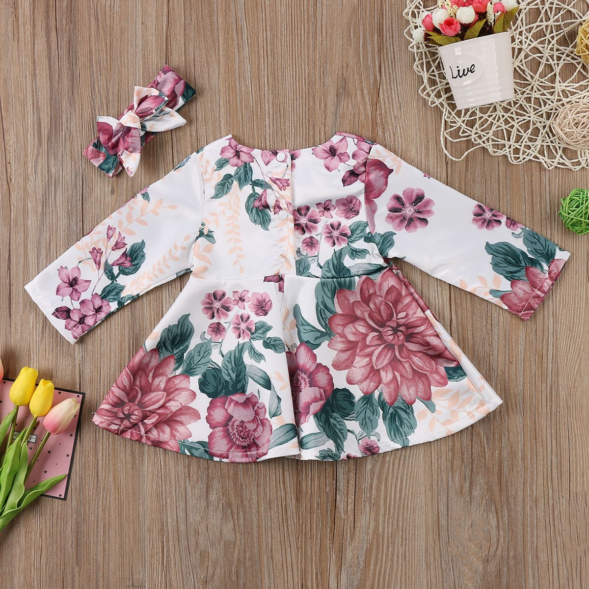 Infant Toddler Baby Girls Boho Floral Dress Long Sleeve with Headband