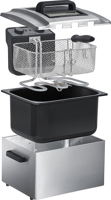Freidora recomendada para restaurantes con 1 cesta grande y 2 pequeñas. Precioso diseño en acero inoxidable. Tapadera con ventana y filtro.